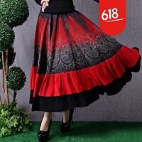 2018新品原创复古民族风裙子吉普赛风格半身裙波西米亚女装大摆裙GH10502 红色 均码