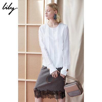 Lily春新款女装OL商务流苏毛边白色套头雪纺衫118410C8106 秋冬热卖限时1.3折!全场每满200减20