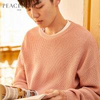 太平鸟男装 粉色毛衣宽松圆领针织衫男套头毛衫潮冬季新款