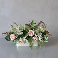 玫瑰花束仿真花假花绢花组合套装餐桌客厅摆设植物装饰花SN1169