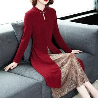 针织连衣裙女秋冬装2018新款名媛气质红色过膝长袖冬季加厚打底裙 红色