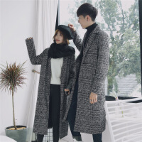2018秋冬季新款情侣风衣外套格子长款过膝宽松加厚男士呢子大衣潮