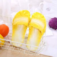 搞怪蔬菜拖鞋女ins网红创意白菜一字拖浴室居家儿童情侣时尚 黄色 大白菜