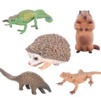 儿童仿真动物世界丛林玩具模型变色龙蜥蜴土拨鼠刺猬*