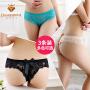 【3条】钻石丫丫蕾丝女士内裤女性感蝴蝶结透明三角丁字裤-AB09009