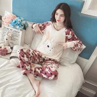 珊瑚绒睡衣女冬季韩版学生卡通甜美可爱家居服清新秋季法兰绒兔子
