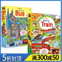 【预 售】Wind-up 扭动发条玩具书 四轨版2本套装 火车+汽车拉拉玩具车 英文原版 儿童亲子互动读物 Usborn