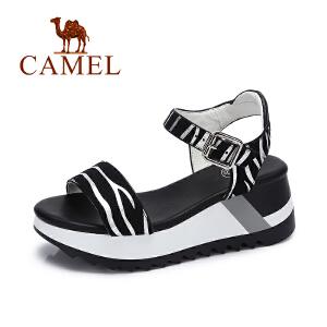 Camel/骆驼女鞋 夏季新款斑马纹凉鞋 舒适松糕底高跟女凉鞋