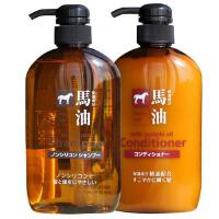 【海外购】日本熊野油脂 马油滋润洗发水护发素 洗护套装 弱酸性无硅油600ml*2