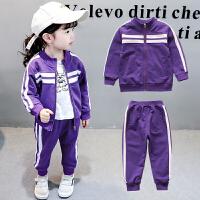 童装宝宝秋装长袖运动套装女童纯棉条纹两件套