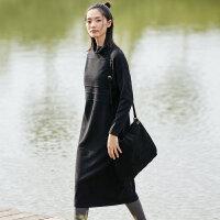 JII AMII2018冬装新款女装直筒纯色个性高领落肩袖百搭连衣裙