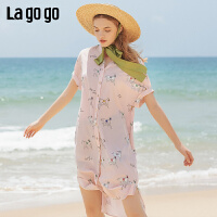 Lagogo/拉谷谷2019夏季新款甜趣味印花连衣裙女IALL304A36