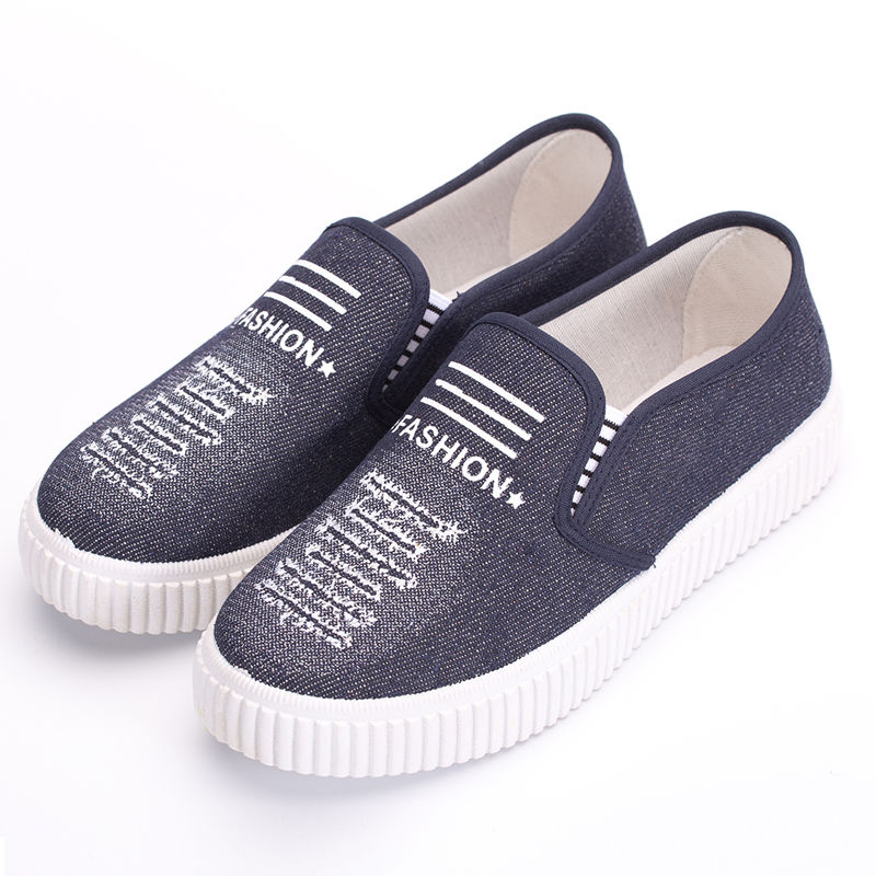 春秋帆布鞋学生女板鞋老北京布鞋一脚蹬工作鞋休闲运动跑步鞋女