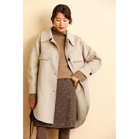 【下单领券立减120元】云上生活女装韩版保暖双面呢大衣冬中长款羊毛呢外套G1018