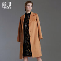 颜域品牌女装2017冬装新款欧美大码OL纯色中长款宽松毛呢外套大衣