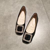 春平底方头单鞋女浅口平跟软底豆豆鞋水钻方扣韩版舒适工作鞋黑色
