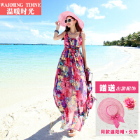 温暖时光 沙滩裙波西米亚长裙海边度假旅行雪纺印花显瘦连衣裙