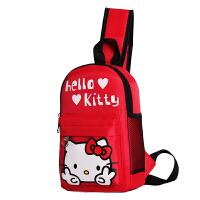 儿童包包胸包单肩斜挎包出游休闲包男童女童可爱公主小背包包 红色 KT猫(红色)