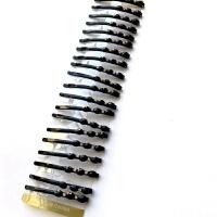 黑夹子特惠一字夹镶钻发夹刘海夹边夹顶夹弧形小卡子头饰 一板20只装简单圆形 6厘米