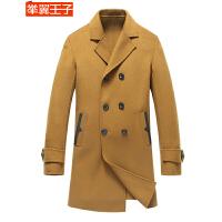 举翼王子手工双面羊毛大衣男 青年男士单排扣中长款羊毛呢外套 秋冬时尚休闲西装领羊绒风衣