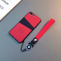 欧美可插卡iPhone7/8plus手机壳6sp布艺苹果X挂绳防摔XS耐脏软套 6/6s 4.7寸(暗红色)