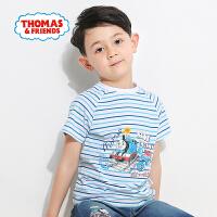 【满600减400】托马斯正版童装男童夏装时尚圆领纯棉清新条纹短袖T恤上衣