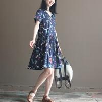 夏装新款森女系百褶纯棉宽松大码碎花短袖连衣裙长裙女GH07301 深蓝色图案