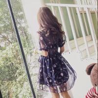 雪纺连衣裙女夏装2017新款韩版高腰显瘦气质碎花裙子女装 夏季潮