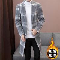 秋冬季外套男加绒加厚呢子大衣男士中长款风衣韩版修身帅气小西装 JN803灰色