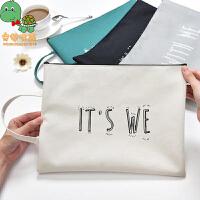 【满99减30】乌龟先森 文件袋 时尚简约A4帆布创意大容量男女学生用品布袋文件收纳袋学习办公文具用品(两个装)