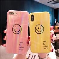 镭射极光笑脸字母苹果X手机壳女款6/6s/8/xr/xs max简约iPhone7plus全包iPh