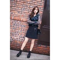 2018春季新款长袖碎花雪纺衫半身裙套装秋季小香风时尚2018新品 雪纺衫+吊带+短裙