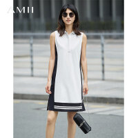 Amii[极简主义]2017夏装新POLO领无袖直筒撞色拼接连衣裙11732263