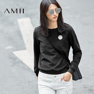 AMII[极简主义]秋冬女新笑脸字母绣章休闲加厚加绒毛呢卫衣