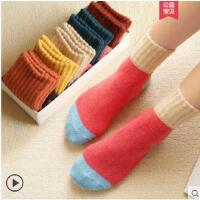 拼色袜子毛巾长筒袜韩国袜子女中筒韩版学院风女士兔羊毛袜保暖加厚