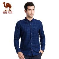 骆驼男装衬衫 秋季新款时尚修身厚款格子休闲长袖衬衫 男衬衣