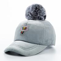 秋冬�和�帽子 男童��舌帽毛球保暖防寒棒球帽毛呢女童小�W生�敉�