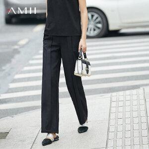 Amii[极简主义]2017夏新知性直筒层次工字摺雪纺休闲长裤11771513