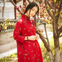 20180616044803297民族风女装连衣裙棉麻唐装中式复古裙子盘扣亚麻长袖改良旗袍上衣GX03