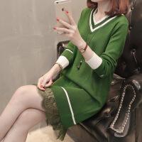 2018秋装新款韩版宽松毛衣外套女中长款V领蕾丝拼接针织衫打底裙 绿色 均码