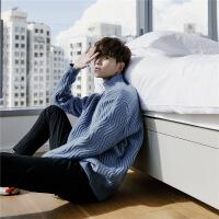 冬季小清新网红套头蓝色半高领毛衣男中领韩版宽松潮流男生针织衫 蓝色 S