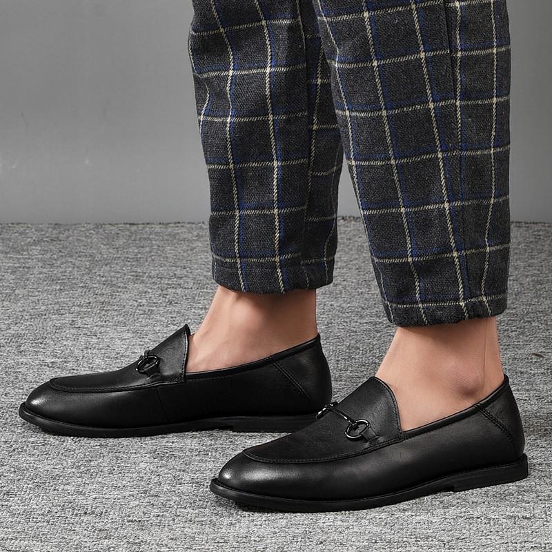 男士休闲皮鞋商务皮鞋 真皮套脚小皮鞋夏季新品豆豆鞋 黑色