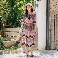 民族风雪纺连衣裙v领高腰五分灯笼袖波西米亚沙滩裙长裙 图片色
