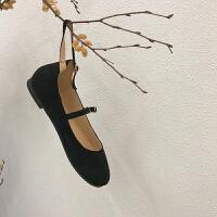 韩国百搭纯色绒面圆头套脚浅口系扣娃娃鞋平底单鞋