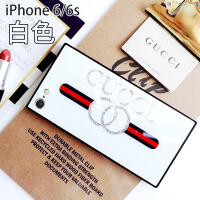 方形苹果x手机壳水钻iPhone XS Max镜面玻璃壳7plus欧美潮牌xr男女6splus硅胶8
