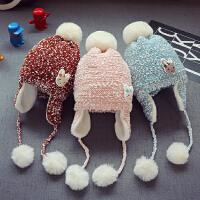 秋冬儿童宝宝毛线帽子男童毛球护耳帽潮女童套头帽1-3岁