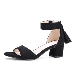 O'SHELL欧希尔夏季上新009-M8韩版磨砂绒面粗跟高跟女士凉鞋