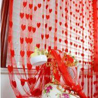红色婚房装饰布置窗帘桃心形爱心线帘婚庆