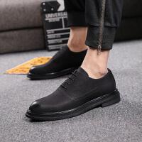 男士新款商务休闲皮鞋英伦尖头磨砂皮鞋韩版黑色青年内增高潮鞋子