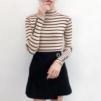 黑白条纹套头毛衣女装修身半高领新款长袖紧身上衣打底针织衫秋冬 浅棕条纹 S